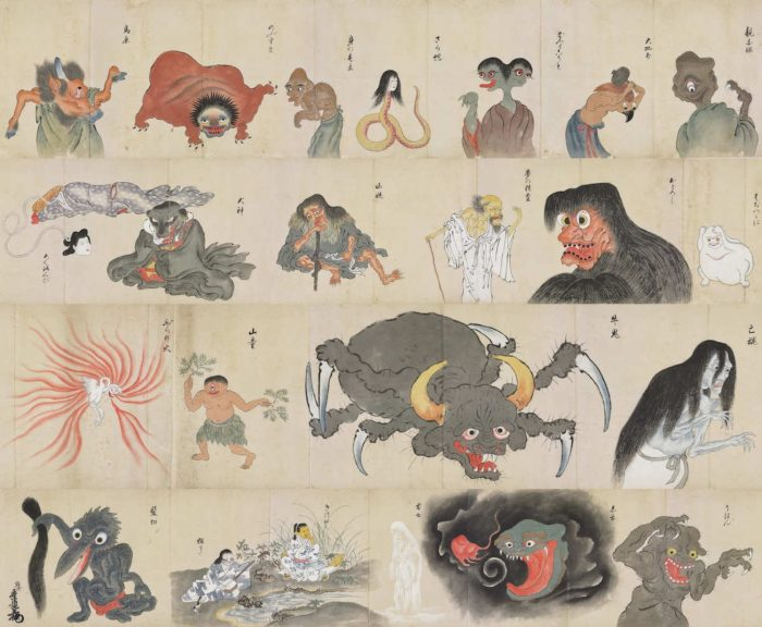 Japanese demons on an old scroll